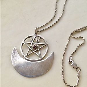 Jewelry - Sterling silver Wiccan star witch 925 5 pentagram